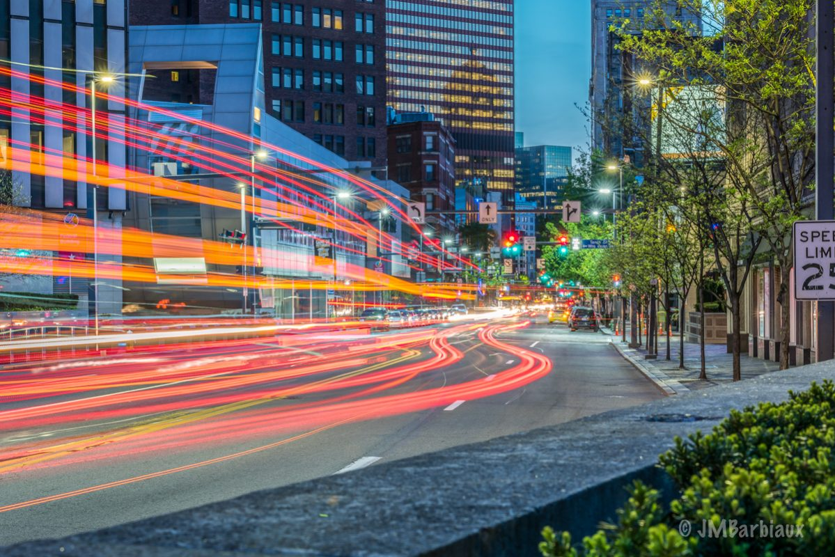 pittsburgh, light trails, long exposure, cityscape, street photography