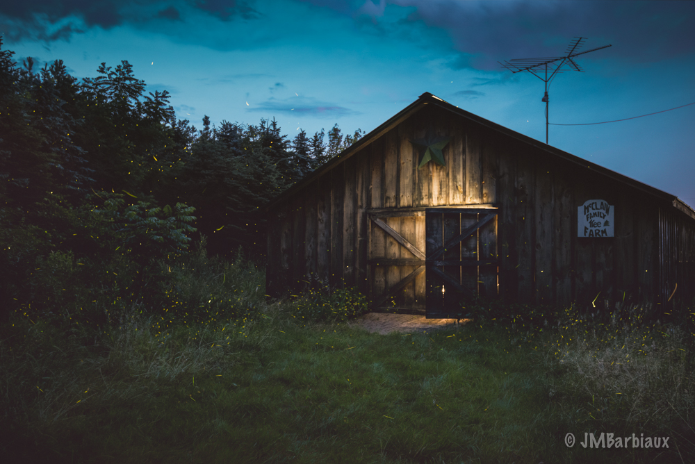 firefly, lightning bug, farm, barn, sureal