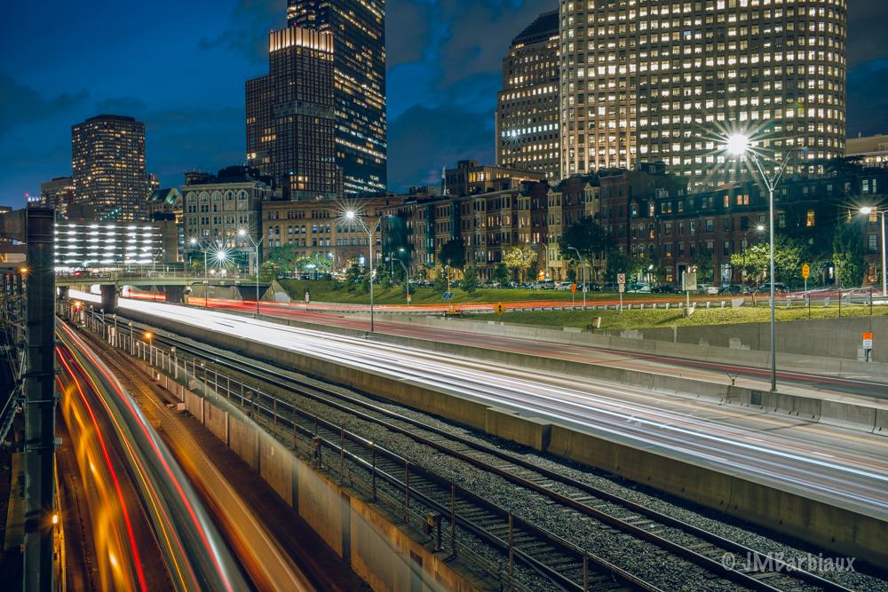 boston, light trails, cityscape, long exposure