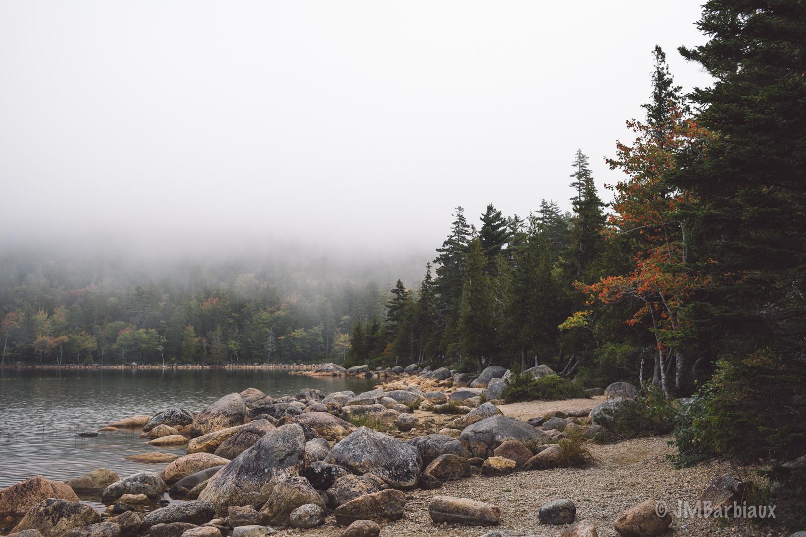 acadia National park, maine, fog, hiking, jordan pond, travel, weather