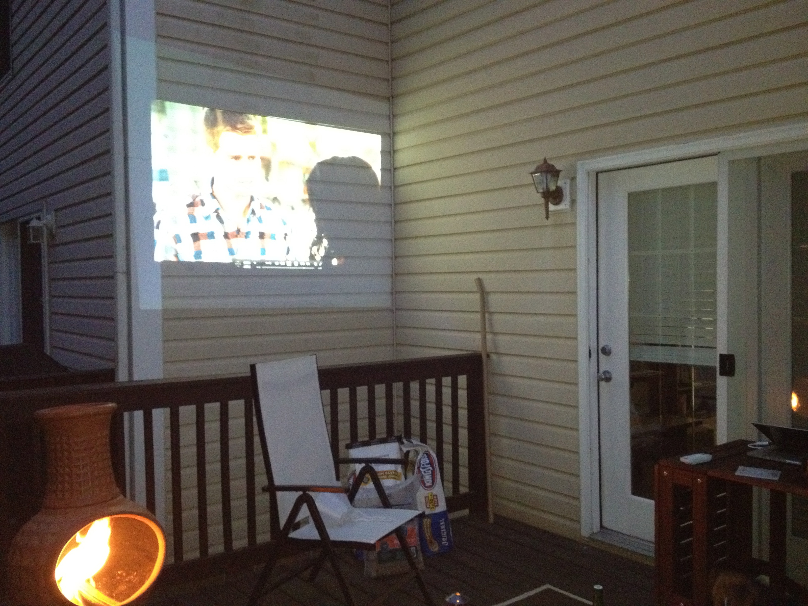 Projector on oudoor wall