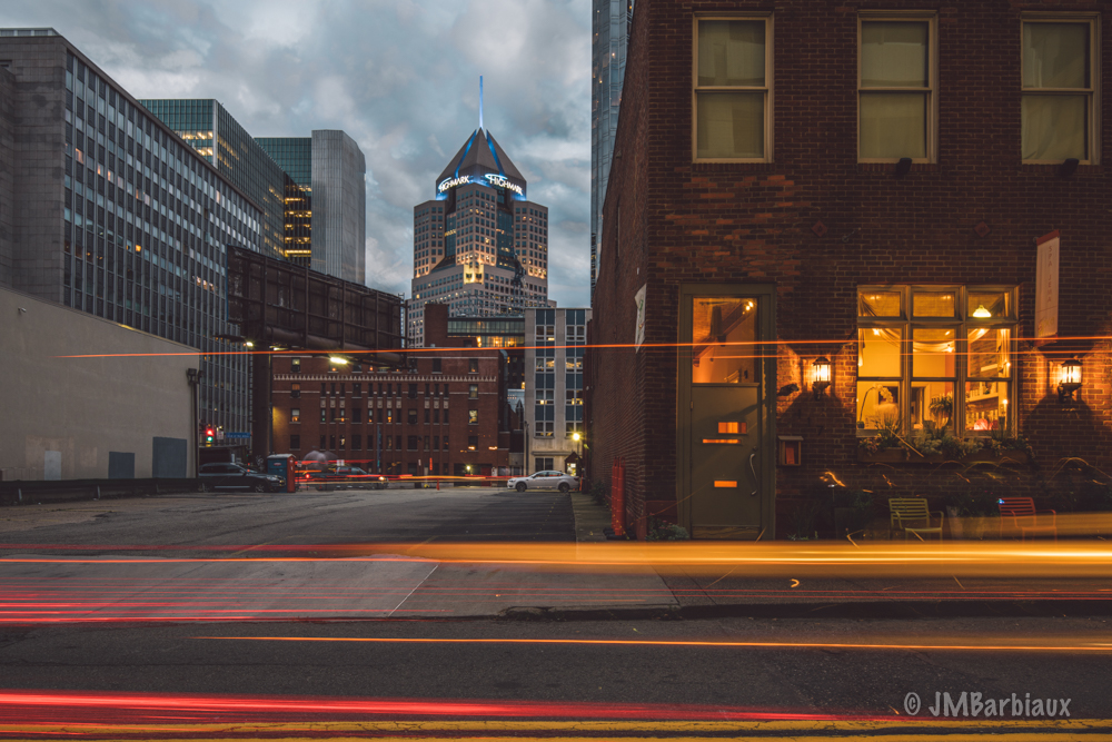 pittsburgh, light trails, urban landscape, long exposure, nikon d810