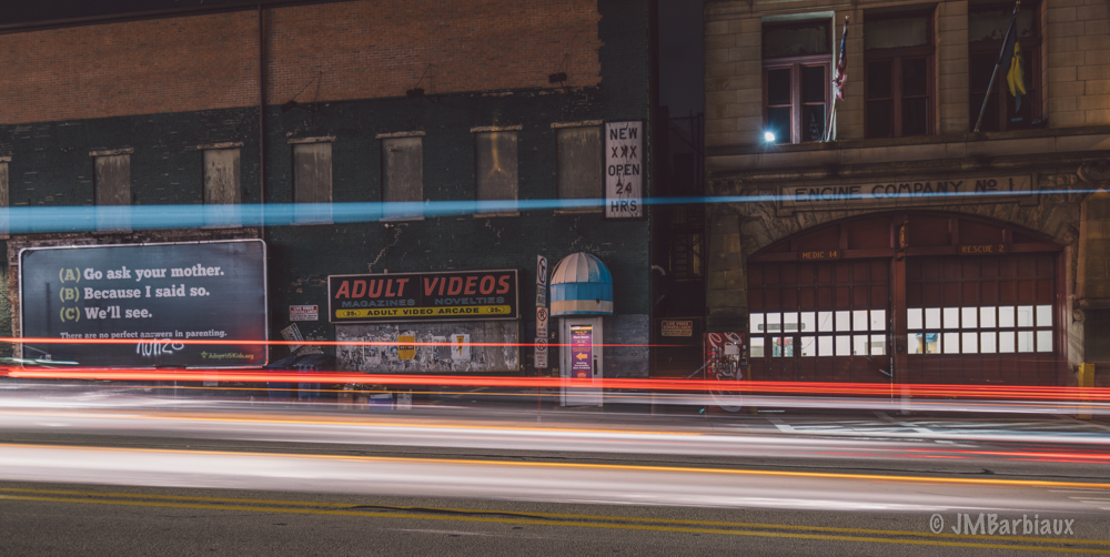 pittsburgh, light trails, long exposure,