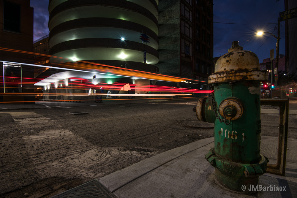 pittsburgh, light trails, long exposure, urban landscape, cityscape