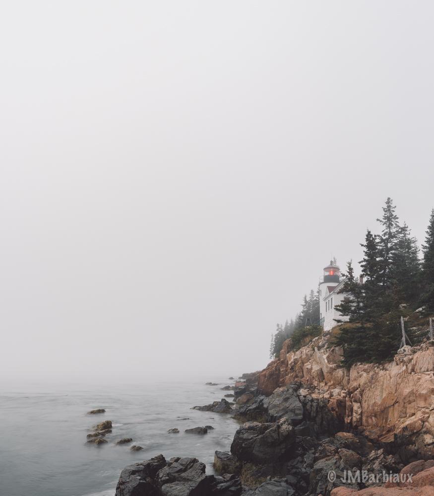 lighthouse, bass harbor, acadia national park, fine art, fog, weather, nikon d850, minimalist